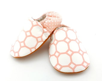 Coral Geometric Baby Booties