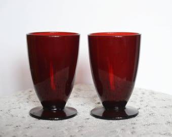 Vintage 50's Pair of Ruby Red Vintage Footed Glass Tumblers