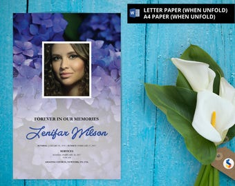 Printable Funeral Program Template, Obituary Program, Memorial Program Template, Microsoft Word Template (Purple Flower)-v12