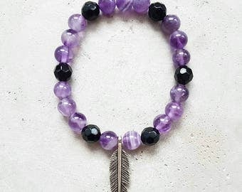 Amethyst bracelet with black Crystal beads
