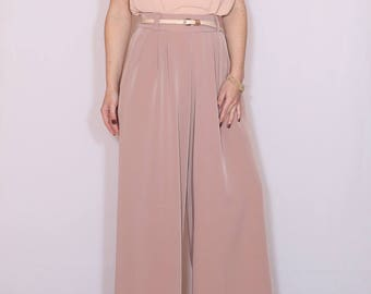 Blush pink wide leg pants High waist pants with pockets