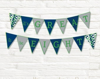 LDS Baptism Triangle Pennant Banner, Party Decorations, Digital Printable, Navy Green and Gray, Primary - Instant Download - Can Customize