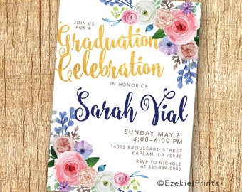 Floral Graduation Announcement & Party Invitation {Spring} {Flowers} {Watercolor}