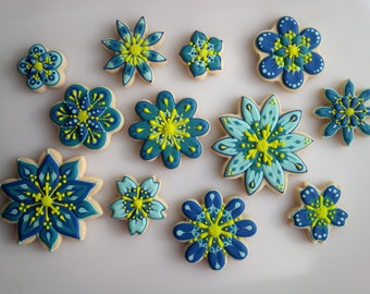 Flower Cookies in Navy, Teal, Turquoise and Chartreuse - One Dozen Floral Decorated Mother's Day Cookies