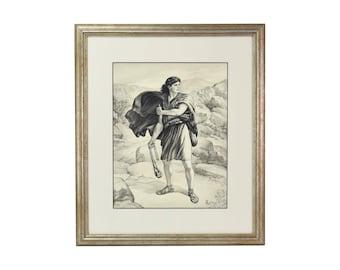Vintage David with Sling Shot Awaiting Goliath Original Ink Wash Pencil Drawing