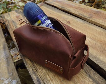 Man Dopp Kit Leather/Mens Toiletry Bag/Personalized GIFT Man/Brother Gift/Father Gift/Men Gift Boyfriend/Gift Husband/Brother Gift for Dad