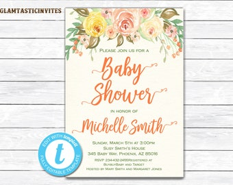 Floral Baby Shower Invitation, Shabby Chic Baby Shower Invitation, Rustic Baby Shower Invitation, Flower Baby Shower Invitation, Baby Shower