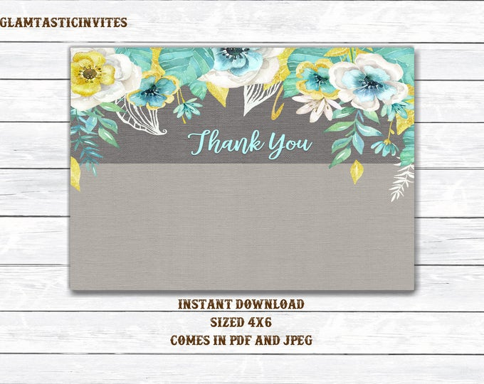 Floral Thank You Card, Printable Floral Thank You Card, Thank You Card, Baby Shower Thank You, Bridal Shower Thank You, Instant Download