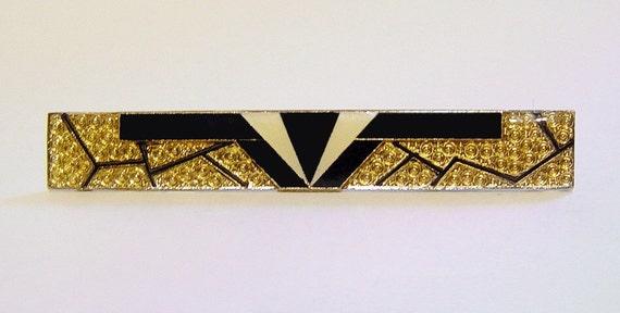 Vintage Art Deco Geometric Design Enamel Metal Brooch Pin BIBA Pierre Bex Style