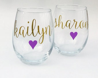 Bridesmaid Wine Glasses Personalized, Bridesmaid Gifts on a Budget- Will You Be My Bridesmaid - Bachelorette Party Gift Ideas - Purple, Gold