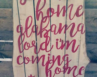 Sweet Home Alabama Wood State Sign