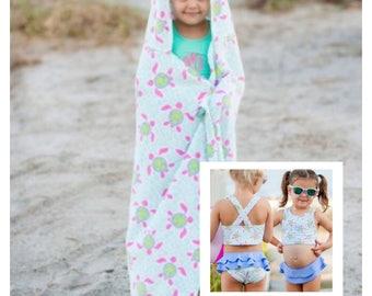 Monogrammed Turtle Tide Hooded Towel and Bathing Suit