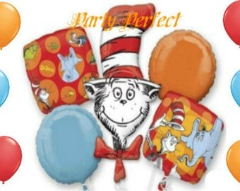 11 pc Cat in the Hat / Dr Seuss Birthday Balloon Bouquet