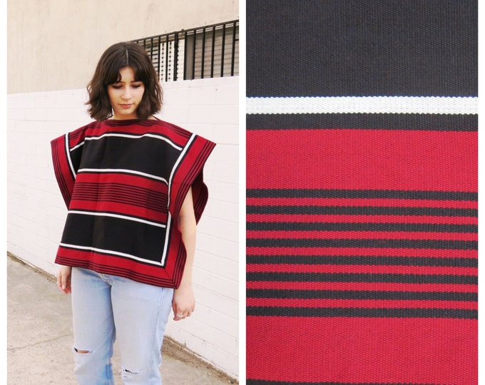 Red and Black Cropped Poncho
