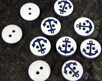 10 x Anchor Blue Buttons - 12.5mm - Baby/Kids Craft Cards Knitting/Sewing B101