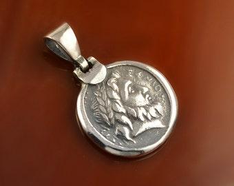 Zeus silver pendant, coin silver pendant, ancient coin pendant, Zeus pendant, greek pendant, antique pendant, greek jewelry, ancient jewelry