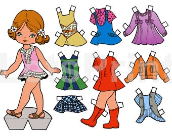 Digital Printable Paper Dolls in color, and black and white. Instant Download