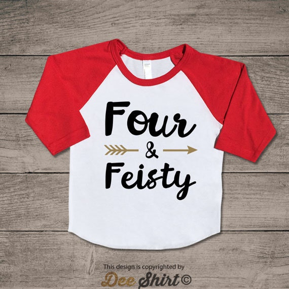 Fourth birthday t-shirt; 4th birthday shirt; four and feisty kids b-day tee; 4 year old toddler outfit; cute xmas gift for birthday boy girl