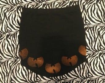 Wu Tang Clan Bleach Print Mini Skirt in Black