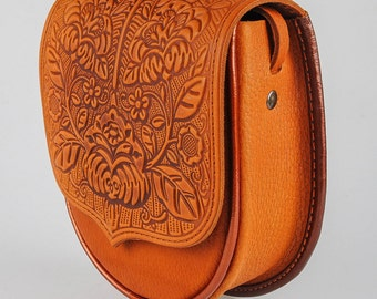 Shoulder bag, ethnic purse, small crossbody purse embossed, mini purse, foxy bag, leather bag, tooled leather bag, small crossbody bag,