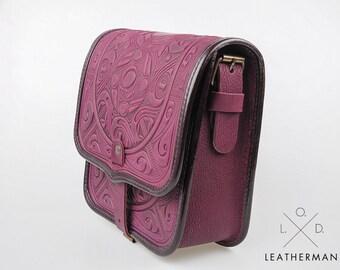 Messenger bag, Purple leather purse, Crossbody bag, Shoulder leather bag, Genuine leather bag, Hot tooled leather, Unigue bag, Handmade bag