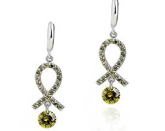 Earrings 18k Rhodium-plated sterling silver  Made with Swiss Crystals FREE SHIPPING!