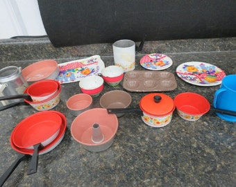 Vintage Child's Cookset and Other Tin Toys