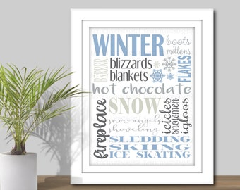 Winter Subway Art - 3 Sizes 5x7, 8x10, 11x14, Printable Digital Download, Winter Word Art, Seasons Subway Art, Winter Sign