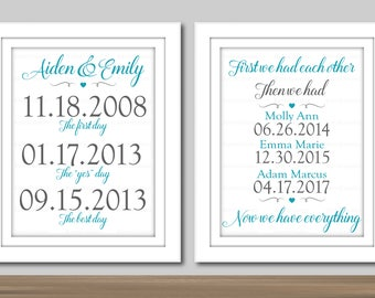 First we had Then we had Now we have Everything, First day Yes Day Best Day, Wall Art - PRINTABLE. Special Dates, Important Dates