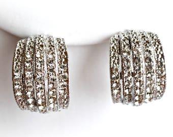 Crystal bridal earrings silver plated wedding jewelry rhinestones bridesmaid gift bridal gift