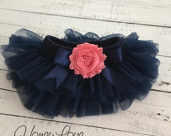 Navy Blue tutu skirt bloomers diaper cover, embellished Coral Pink shabby flower, ruffles all around newborn infant toddler little baby girl
