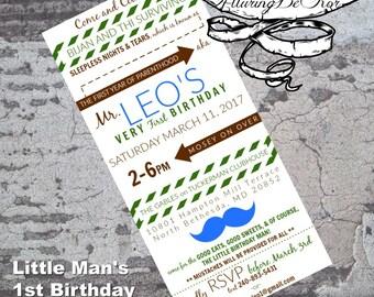 Little Man: 1st Birthday Invitation