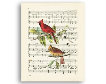 Cardinal print, Vintage music sheet collage, Music decor, Birds wall art Gift for a musician, Digital  Printable art Instant download 8x10