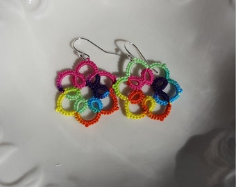 Tatted Flower Earrings on Sterling Silver Earwire