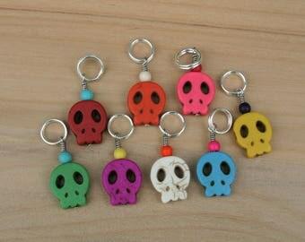 Fiesta Skulls Stitch Markers - Set of 5 or 8