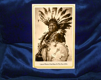 Rain In The Face Native American Cabinet Card Photograph Vintage Reproduction
