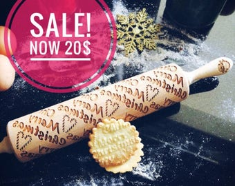 MERRY CHRISTMAS rolling pin, embossing rolling pin, engraved rolling pin by laser, christmas