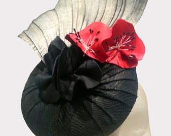 Handmade millinery black leather red grey fascinator for Spring Racing