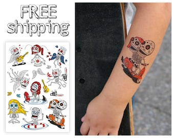Skeletons kids temporary tattoos set. Mexican style kids tatts with sugar skulls: angel, rock, chainsaw, surf, yoga, vespa, scooter. TA042