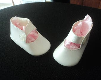 Vintage Doll Shoes White Vinyl White Button Straps