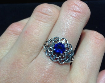 Sterling Silver Filigree and Dark Blue Stone Ring