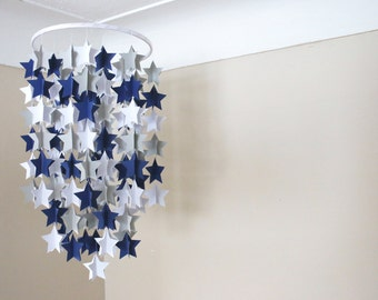 Stars Crib Mobile, Star Mobile, White, Navy, Grey Stars, Baby shower, Baby Nursery, Photo Prop, Birthday, Gift, Decor, Backdrop.