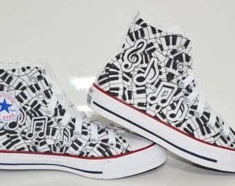 Music/Piano custom shoes / custom converse