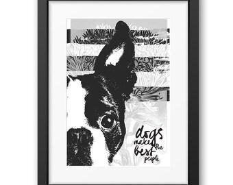 Boston Terrier art print, Dog Print Gift Idea, Modern Dog Art Print, Black White Wall Decor, Boston Terrier print, Pet portrait, dog art
