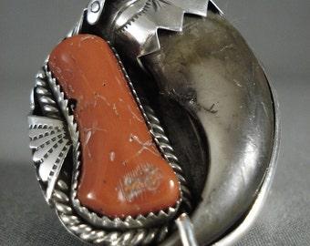 Big Chunk Coral Vintage Navajo Silver Ring