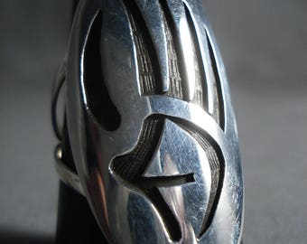 Colossal Vintage Navajo Silver 'Powerful' Ring Huge
