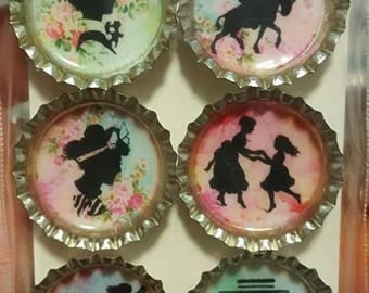 Colorful Silhouette Bottle Cap Magnets