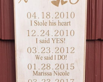 "Rustic Wood Sign - Our Love Story - 8""x16"""