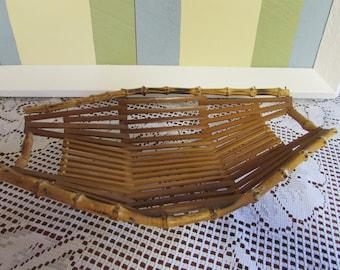 Basket in bamboo and wood slat VINTAGE basket for bread VTG basket of wood Mid-Century Fruit basket