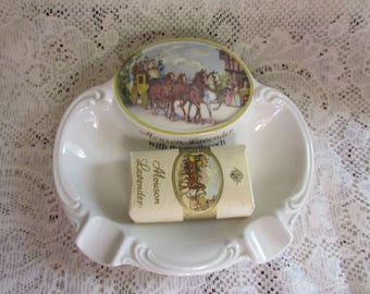 VINTAGE SOAP dish with SOAP Mouson Lavender With The Mailcoach VTG ashtray white Mid - Century Rosen thal Germany